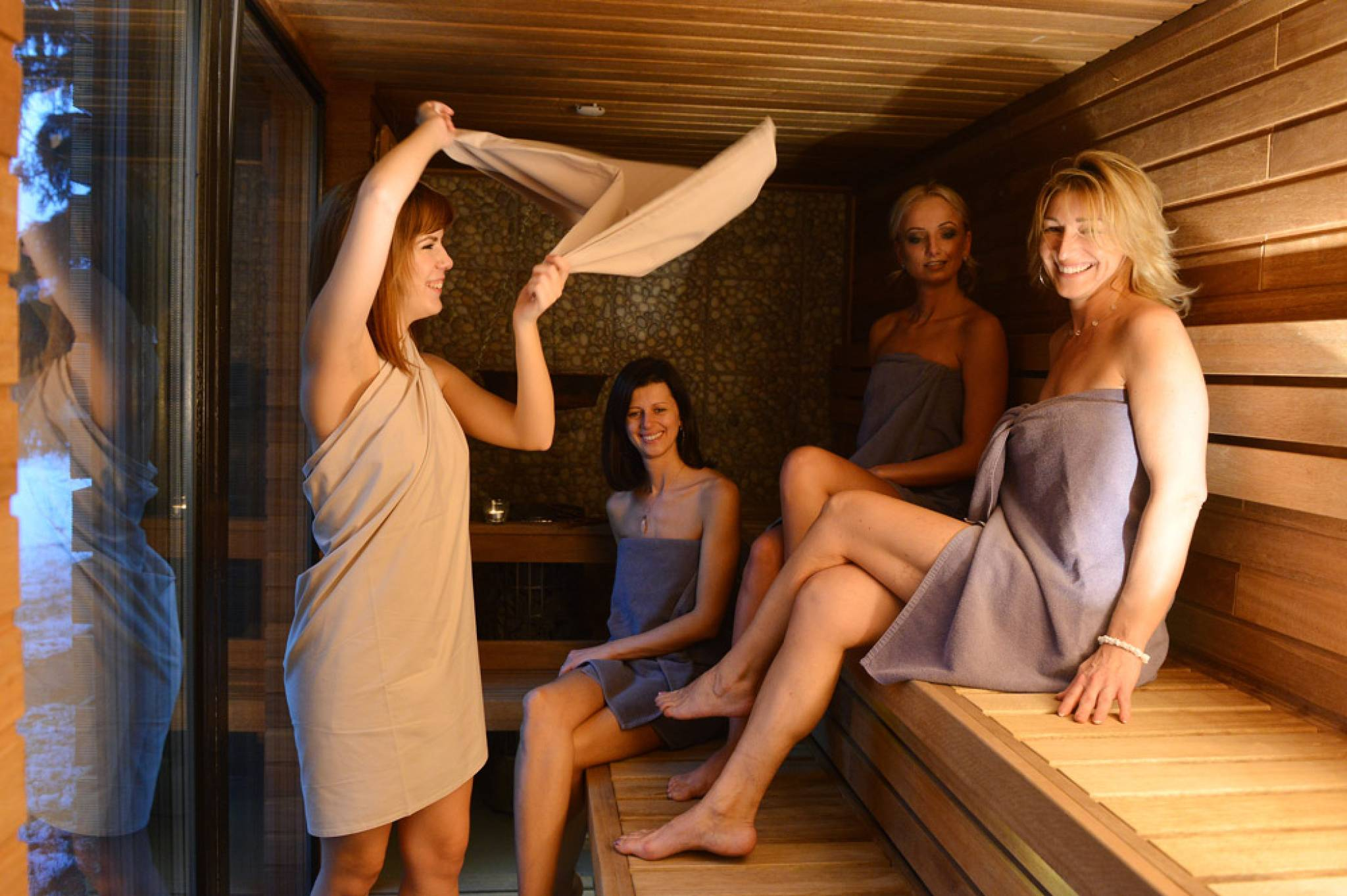 Teen girl sauna
