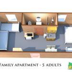 Apartament cu 1 camera pentru 5 pers.