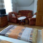 Apartament la etaj cu vedere spre gradina cu 1 camera pentru 2 pers. (se poate solicita pat suplimentar)