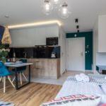 Apartament 3-osobowy z balkonem z aneksem kuchennym z 1 pomieszczeniem sypialnianym