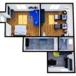 Apartament 4-osobowy z prysznicem z własną kuchnią (możliwa dostawka)