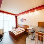 Apartament la parter cu terasa cu 1 camera pentru 2 pers. (se poate solicita pat suplimentar)